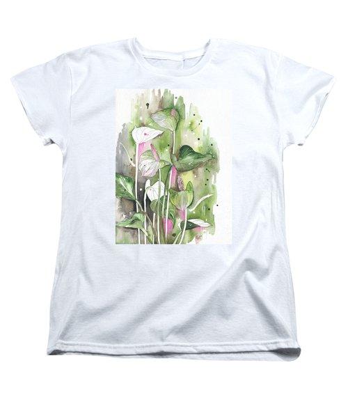 Flower Anthurium 04 Elena Yakubovich Women's T-Shirt (Standard Cut) by Elena Yakubovich