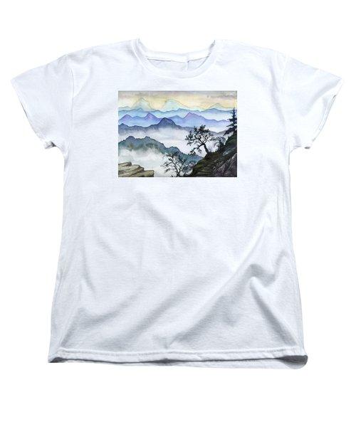 Foggy Mountaines Sunset View  Women's T-Shirt (Standard Cut) by Alban Dizdari