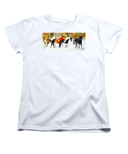Women's T-Shirt (Standard Cut) featuring the painting Follow The Leader by Greg Collins