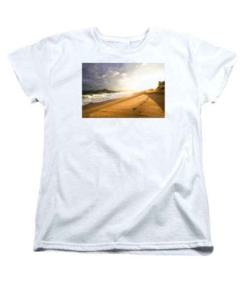 Women's T-Shirt (Standard Cut) featuring the photograph Footsteps In The Sand by Eti Reid