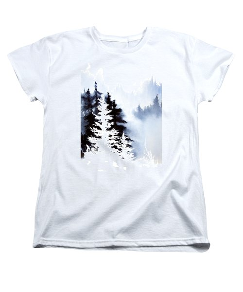 Women's T-Shirt (Standard Cut) featuring the painting Forest Indigo by Teresa Ascone