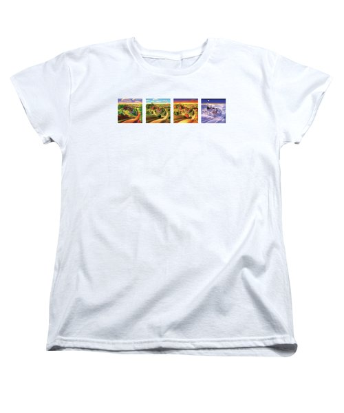 Women's T-Shirt (Standard Cut) featuring the painting Four Seasons On The Farm by Robin Moline