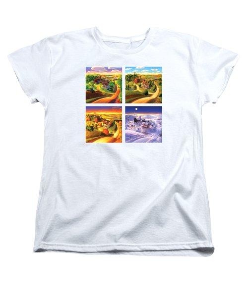 Four Seasons On The Farm Squared Women's T-Shirt (Standard Cut) by Robin Moline