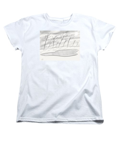 Frozen Landscape Women's T-Shirt (Standard Cut) by Stacy C Bottoms