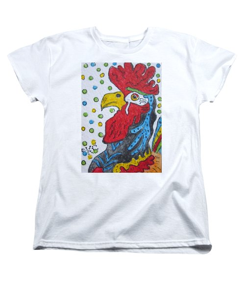 Funky Cartoon Rooster Women's T-Shirt (Standard Cut) by Kathy Marrs Chandler