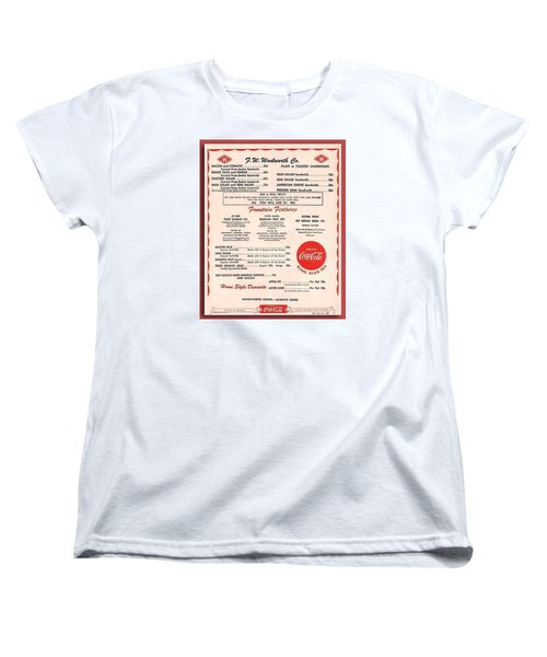 Fw Woolworth Lunch Counter Menu Women's T-Shirt (Standard Cut) by Thomas Woolworth