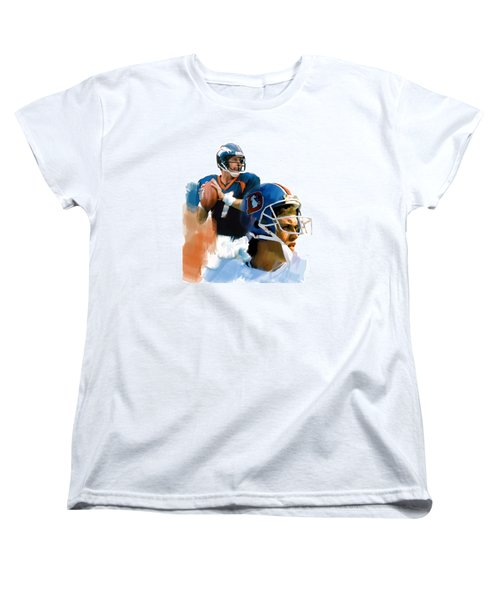 Women's T-Shirt (Standard Cut) featuring the painting Game Elway  John Elway by Iconic Images Art Gallery David Pucciarelli