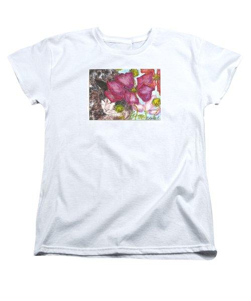 Women's T-Shirt (Standard Cut) featuring the painting Garden Nap by Reina Resto