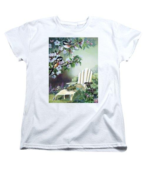 Chickadees In Blossom Tree Women's T-Shirt (Standard Cut) by Regina Femrite