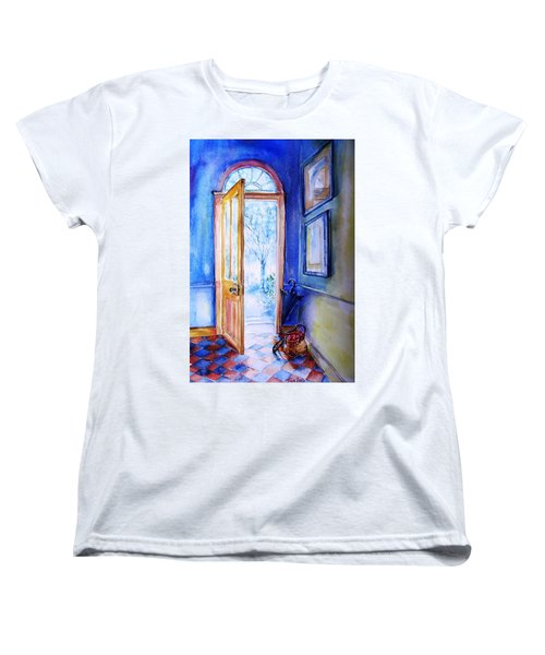 Women's T-Shirt (Standard Cut) featuring the painting Winter Doorway Ireland    by Trudi Doyle