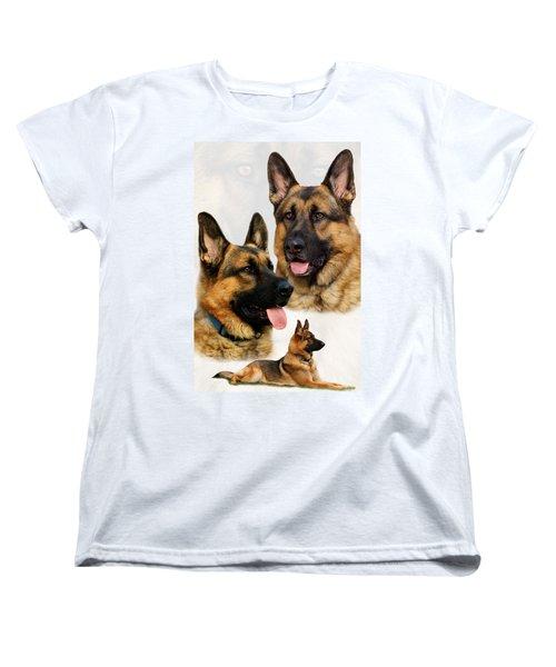 German Shepherd Collage Women's T-Shirt (Standard Cut) by Sandy Keeton