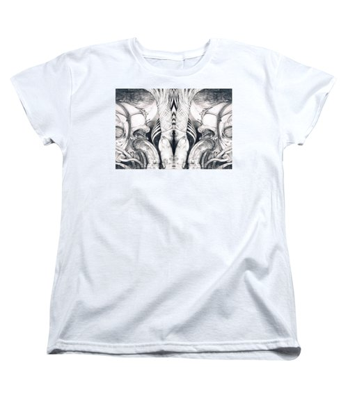 Women's T-Shirt (Standard Cut) featuring the painting Ghost In The Machine - Detail Mirrored by Otto Rapp