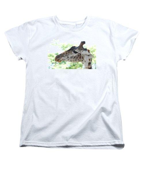 Giraffe Chewing On A Tree Branch Women's T-Shirt (Standard Cut) by DejaVu Designs