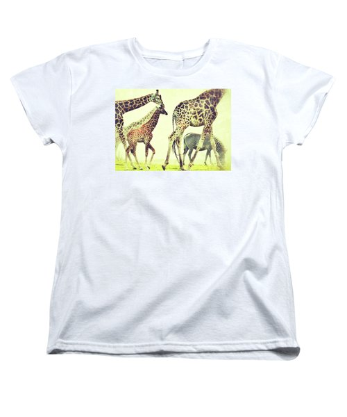 Giraffes And A Zebra In The Mist Women's T-Shirt (Standard Cut) by Nick  Biemans