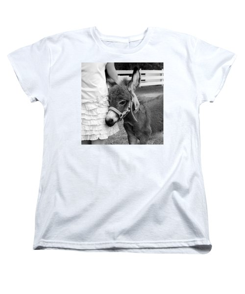 Girl And Baby Donkey Women's T-Shirt (Standard Cut) by Brooke T Ryan