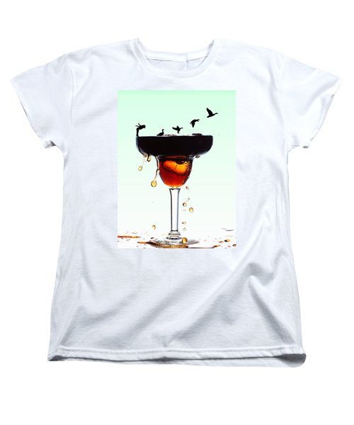 Girl And Geese Liquid Art Women's T-Shirt (Standard Cut) by Paul Ge