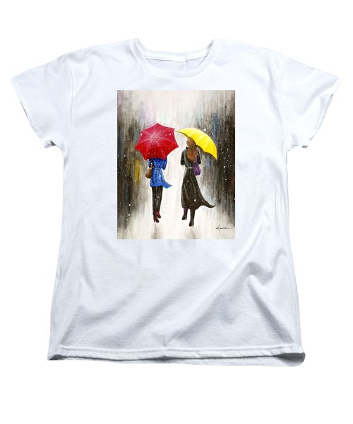 Women's T-Shirt (Standard Cut) featuring the painting Girlfriends by Kume Bryant