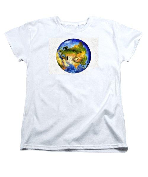 Globe World Map Women's T-Shirt (Standard Cut) by Georgi Dimitrov