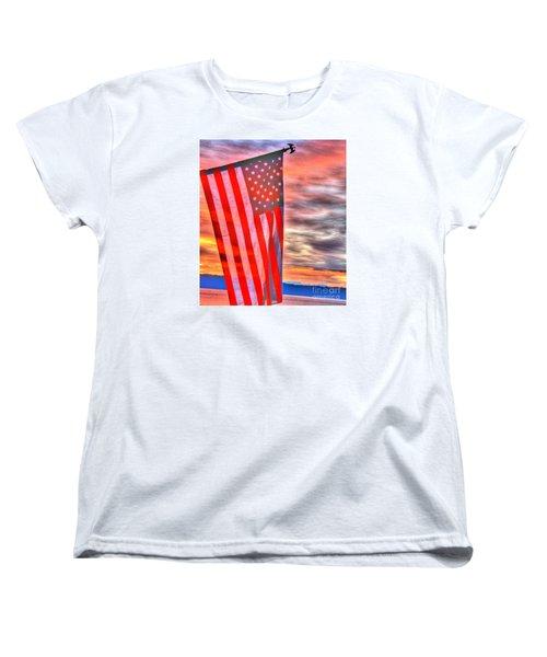 God Bless America Over Puget Sound Women's T-Shirt (Standard Cut)