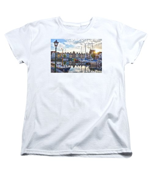 Women's T-Shirt (Standard Cut) featuring the photograph Goes Harbour by Frans Blok