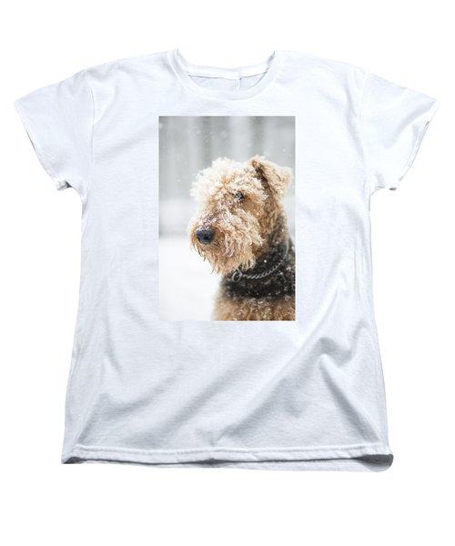 Dog's Portrait Under The Snow Women's T-Shirt (Standard Cut)