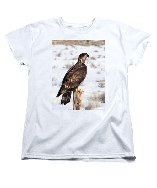 Golden Eagle On Fencepost Women's T-Shirt (Standard Cut) by Nadja Rider