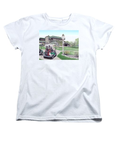 Women's T-Shirt (Standard Cut) featuring the painting Golf Seven Springs Mountain Resort by Albert Puskaric