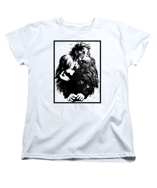 Women's T-Shirt (Standard Cut) featuring the drawing Gorilla Ina Box by Paul Davenport