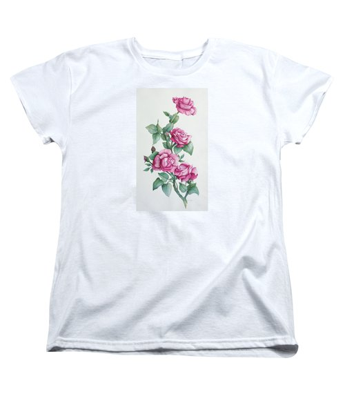 Women's T-Shirt (Standard Cut) featuring the painting Grandma Helen's Roses by Katherine Young-Beck