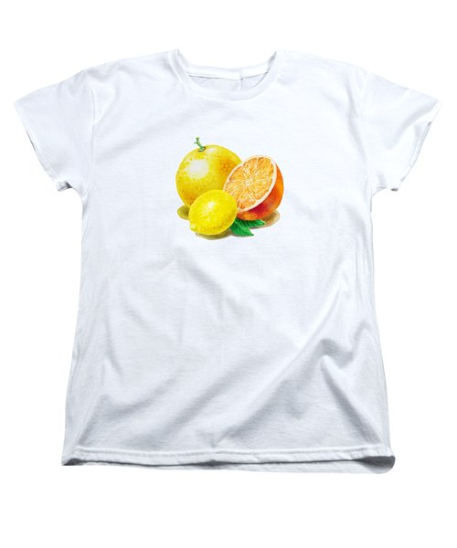 Women's T-Shirt (Standard Cut) featuring the painting Grapefruit Lemon Orange by Irina Sztukowski