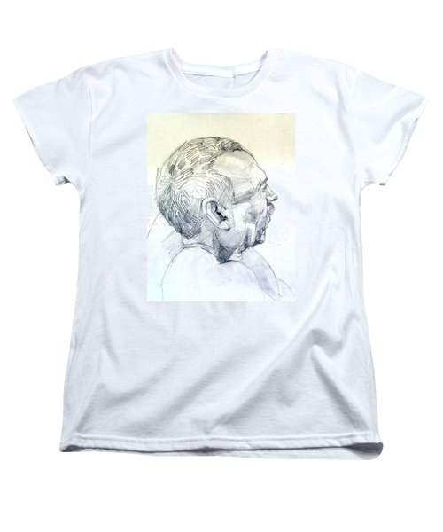Women's T-Shirt (Standard Cut) featuring the drawing Graphite Portrait Sketch Of A Man In Profile by Greta Corens