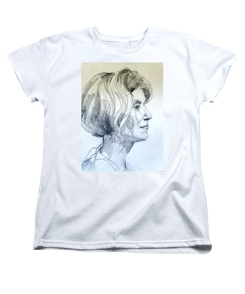 Women's T-Shirt (Standard Cut) featuring the drawing Portrait Drawing Of A Woman In Profile by Greta Corens