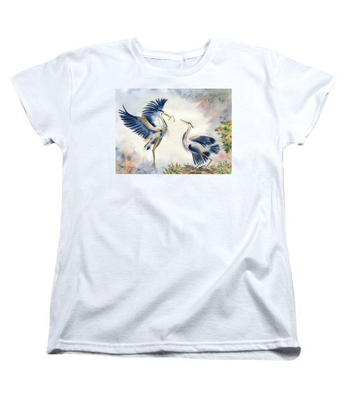 Great Blue Heron Couple Women's T-Shirt (Standard Cut) by Melly Terpening