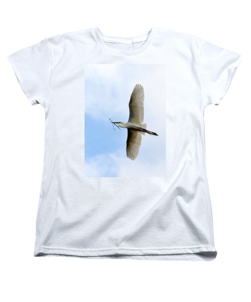 Great Egret In Flight Women's T-Shirt (Standard Cut) by Richard Bryce and Family
