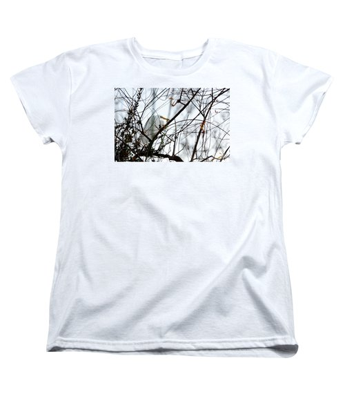 Women's T-Shirt (Standard Cut) featuring the photograph Great Egret Roosting In Winter by Susan Wiedmann