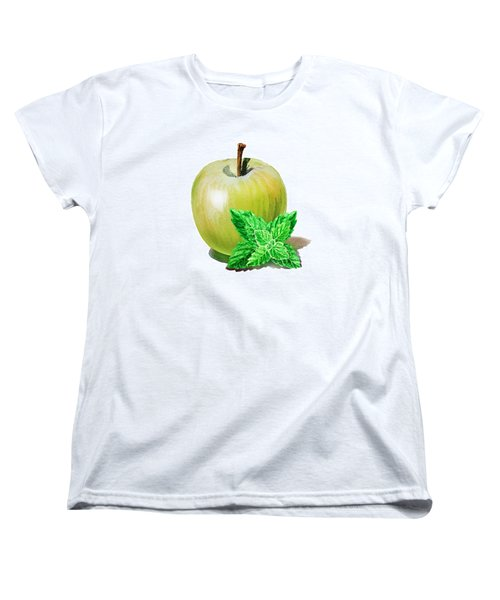 Women's T-Shirt (Standard Cut) featuring the painting Green Apple And Mint by Irina Sztukowski