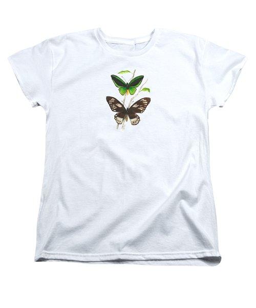 Green Birdwing Butterfly Women's T-Shirt (Standard Cut) by Cindy Hitchcock