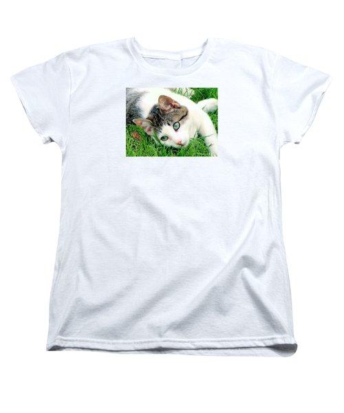 Women's T-Shirt (Standard Cut) featuring the photograph Green Eyed Cat by Janette Boyd