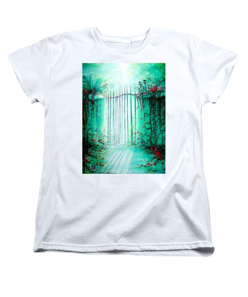 Women's T-Shirt (Standard Cut) featuring the painting Green Skeleton Gate by Heather Calderon