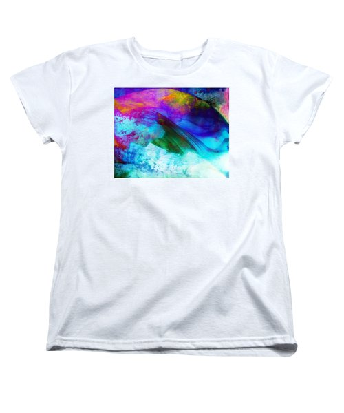 Women's T-Shirt (Standard Cut) featuring the painting Green Wave - Vibrant Artwork by Lilia D