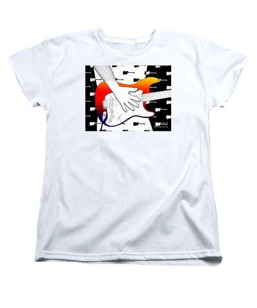 Women's T-Shirt (Standard Cut) featuring the drawing Guitar 1 by Joseph J Stevens