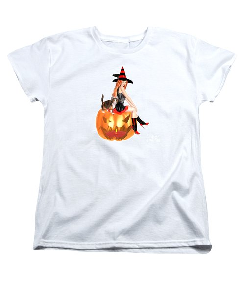 Halloween Witch Nicki With Kitten Women's T-Shirt (Standard Cut) by Renate Janssen