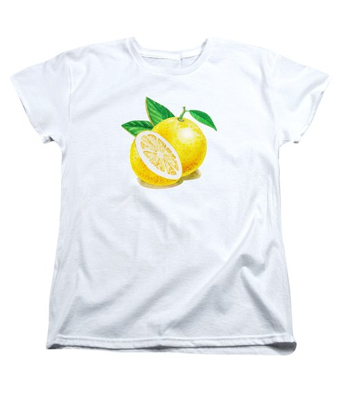 Women's T-Shirt (Standard Cut) featuring the painting Happy Grapefruit- Irina Sztukowski by Irina Sztukowski