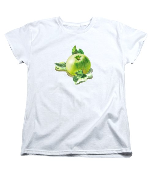 Women's T-Shirt (Standard Cut) featuring the painting Happy Green Apple by Irina Sztukowski