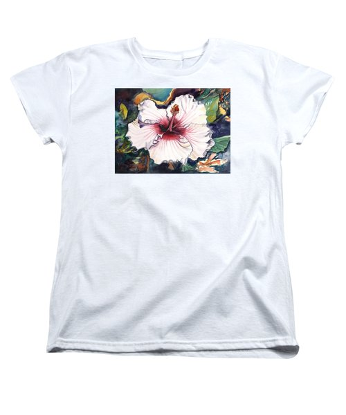 Women's T-Shirt (Standard Cut) featuring the painting Happy Hawaiian Hibiscus by Marionette Taboniar
