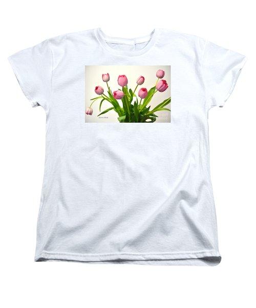 Women's T-Shirt (Standard Cut) featuring the digital art Happy Spring Pink Tulips 2 by Jeannie Rhode