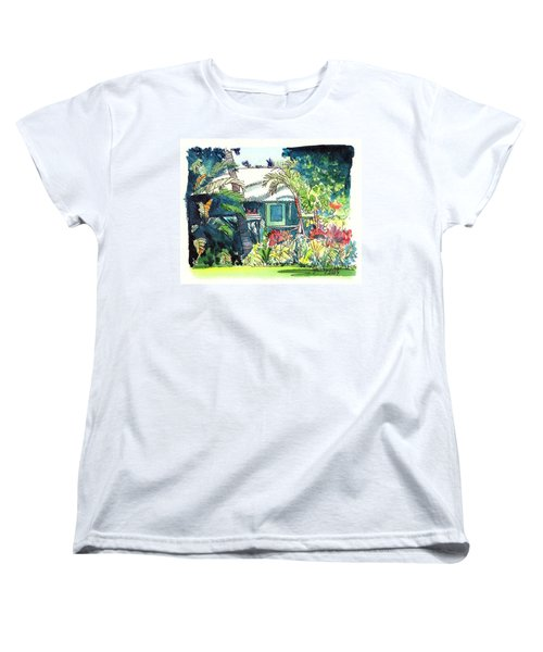 Women's T-Shirt (Standard Cut) featuring the painting Hawaiian Cottage 3 by Marionette Taboniar