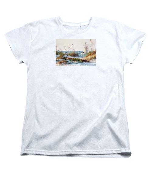 Heron And Sailboat Women's T-Shirt (Standard Cut) by Michael Thomas