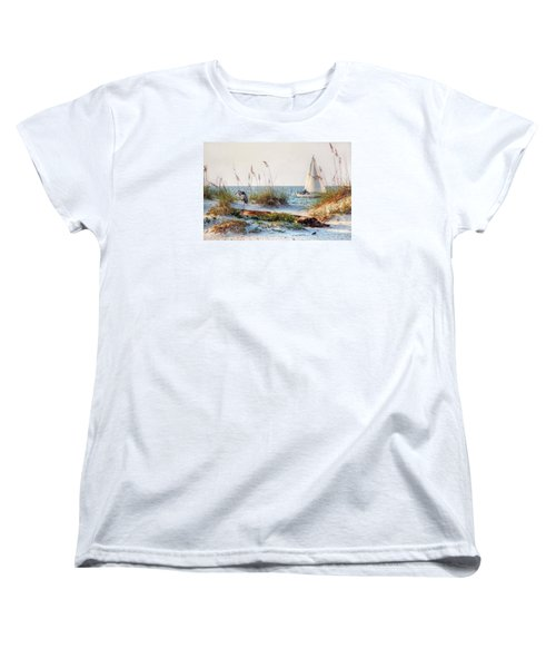 Heron And Sailboat Women's T-Shirt (Standard Cut)