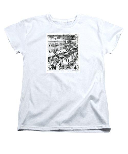 Women's T-Shirt (Standard Cut) featuring the drawing Hester Street by Ira Shander